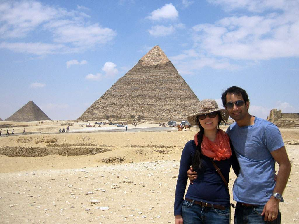 tourists at Giza Pyramids