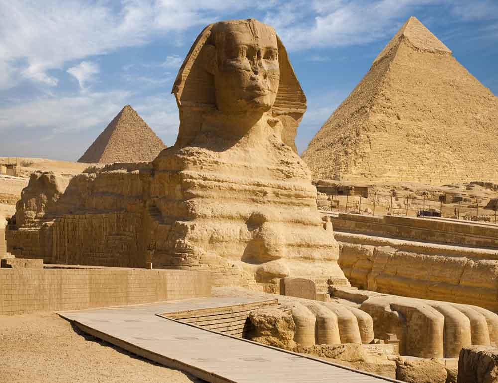 Cairo pyramids and sphinx
