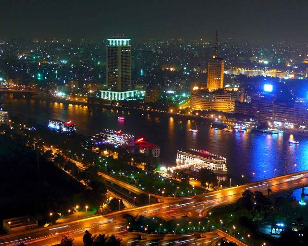 Nile Corniche in Cairo at night.